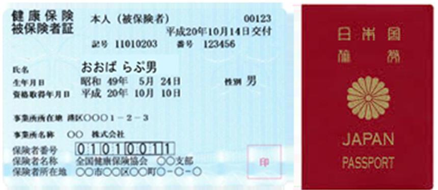 各種健康保険証・パスポート画像
